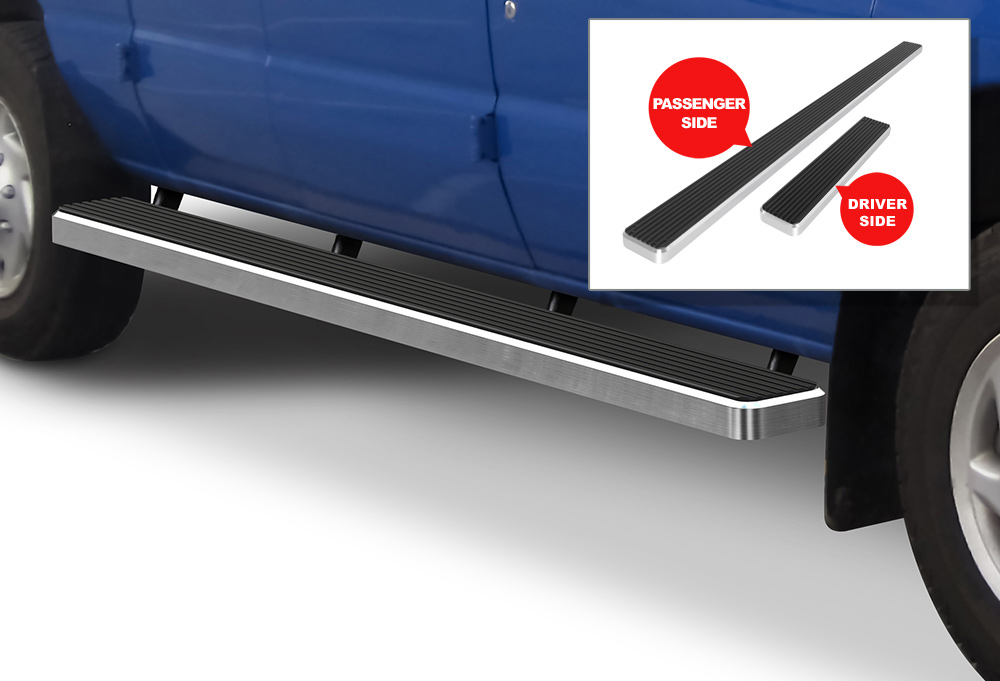 "Premium 5/"" Silver iBoard Side Steps Fit 99-14 Ford Econoline Full Size Van"