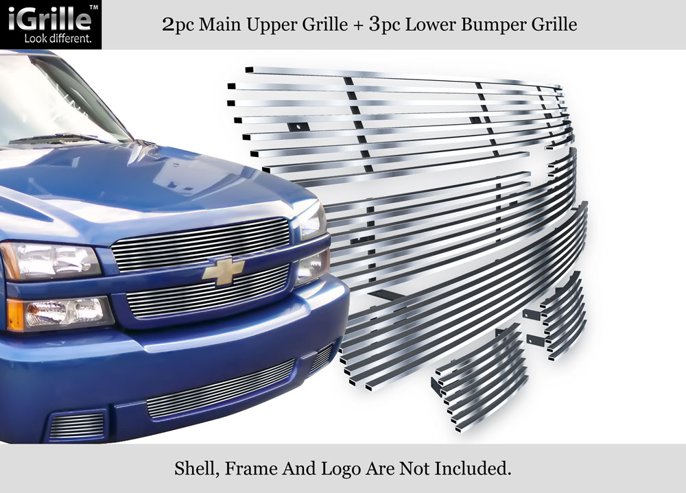 fits 03 05 chevy silverado 1500 ss stainless steel billet grille combo. Black Bedroom Furniture Sets. Home Design Ideas