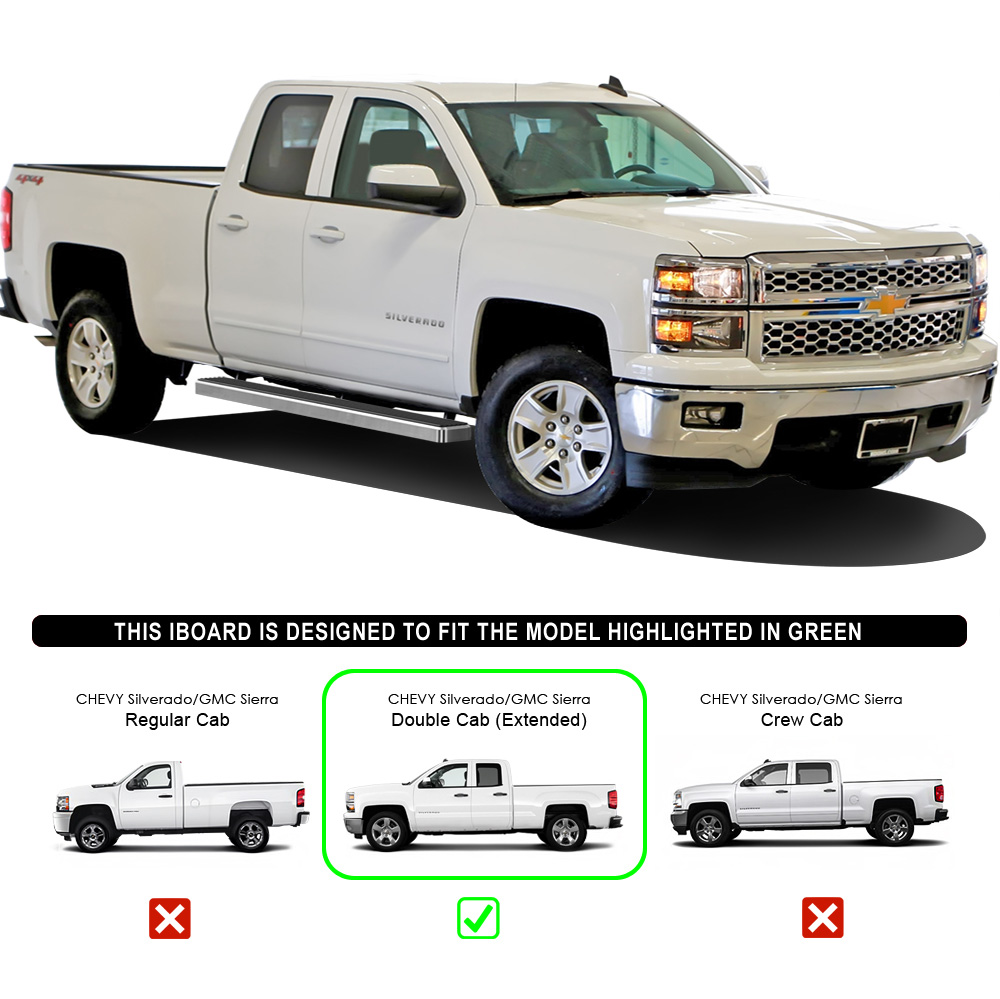 iboard running boards 4 fit 07 17 chevy gmc silverado sierra ext cab double cab ebay. Black Bedroom Furniture Sets. Home Design Ideas