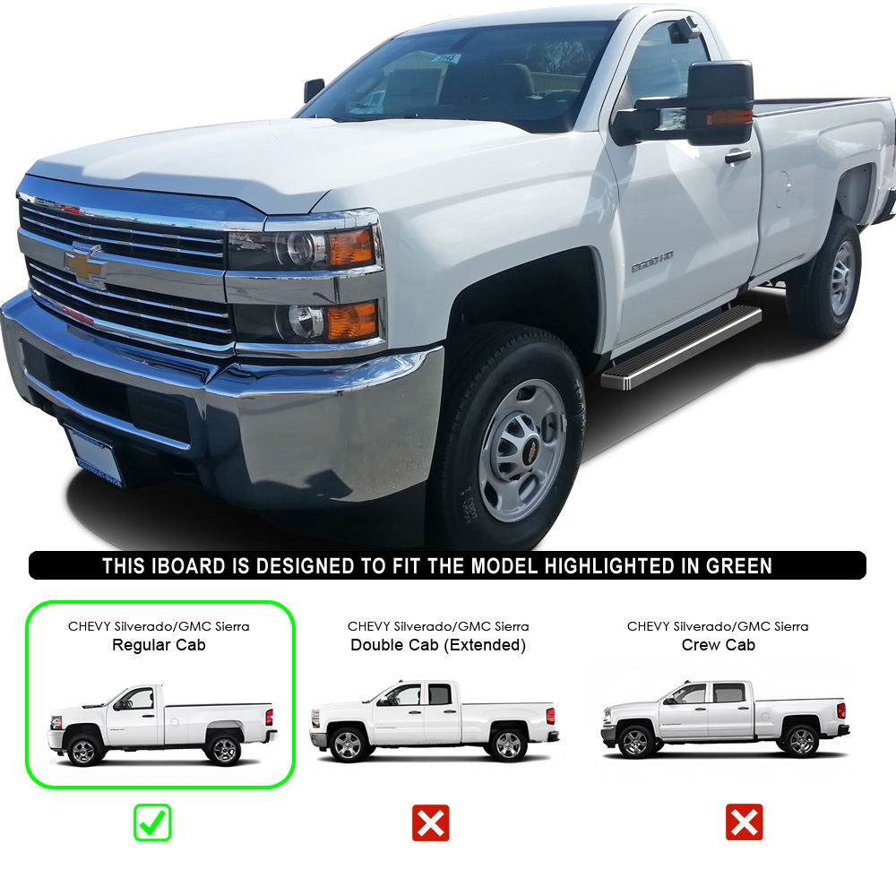 "2007 Gmc Sierra Classic 3500 Extended Cab Transmission: IBoard Running Boards 4"" Fit 07-17 Chevy/GMC Silverado"