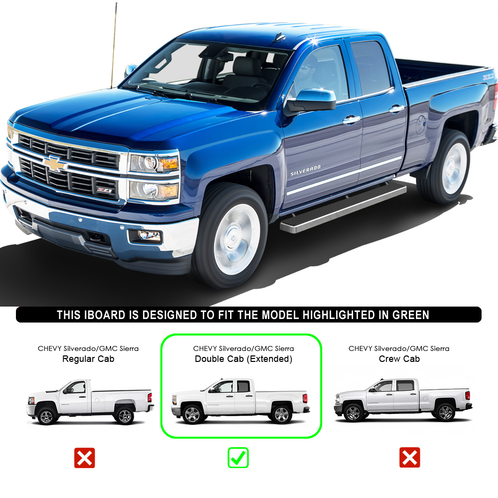"2007 Gmc Sierra Classic 3500 Extended Cab Transmission: 5"" IBoard Running Boards Fit 07-17 Chevy/GMC Silverado"