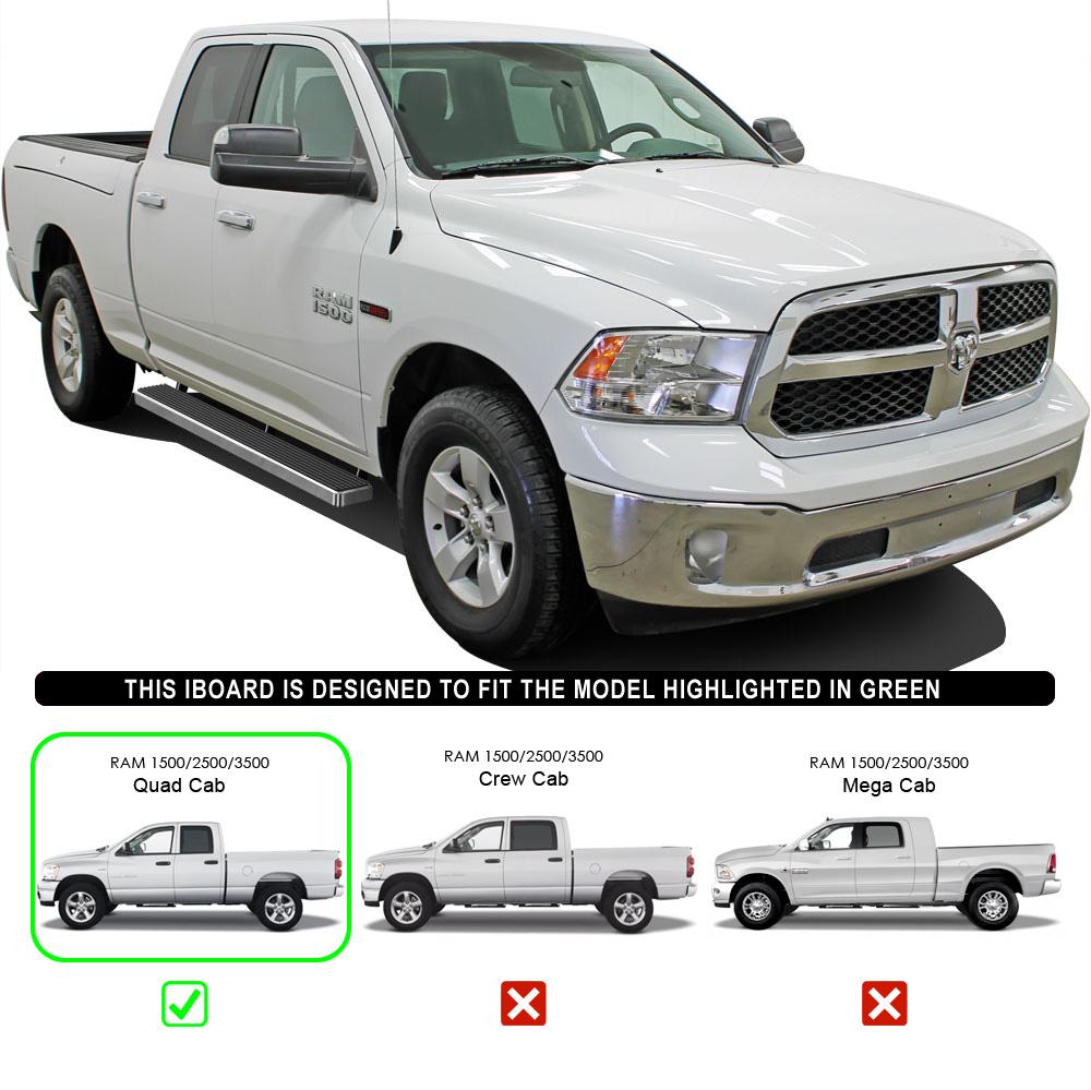"5"" IBoard Running Boards Fit 09-17 Dodge Ram 1500 Quad Cab"