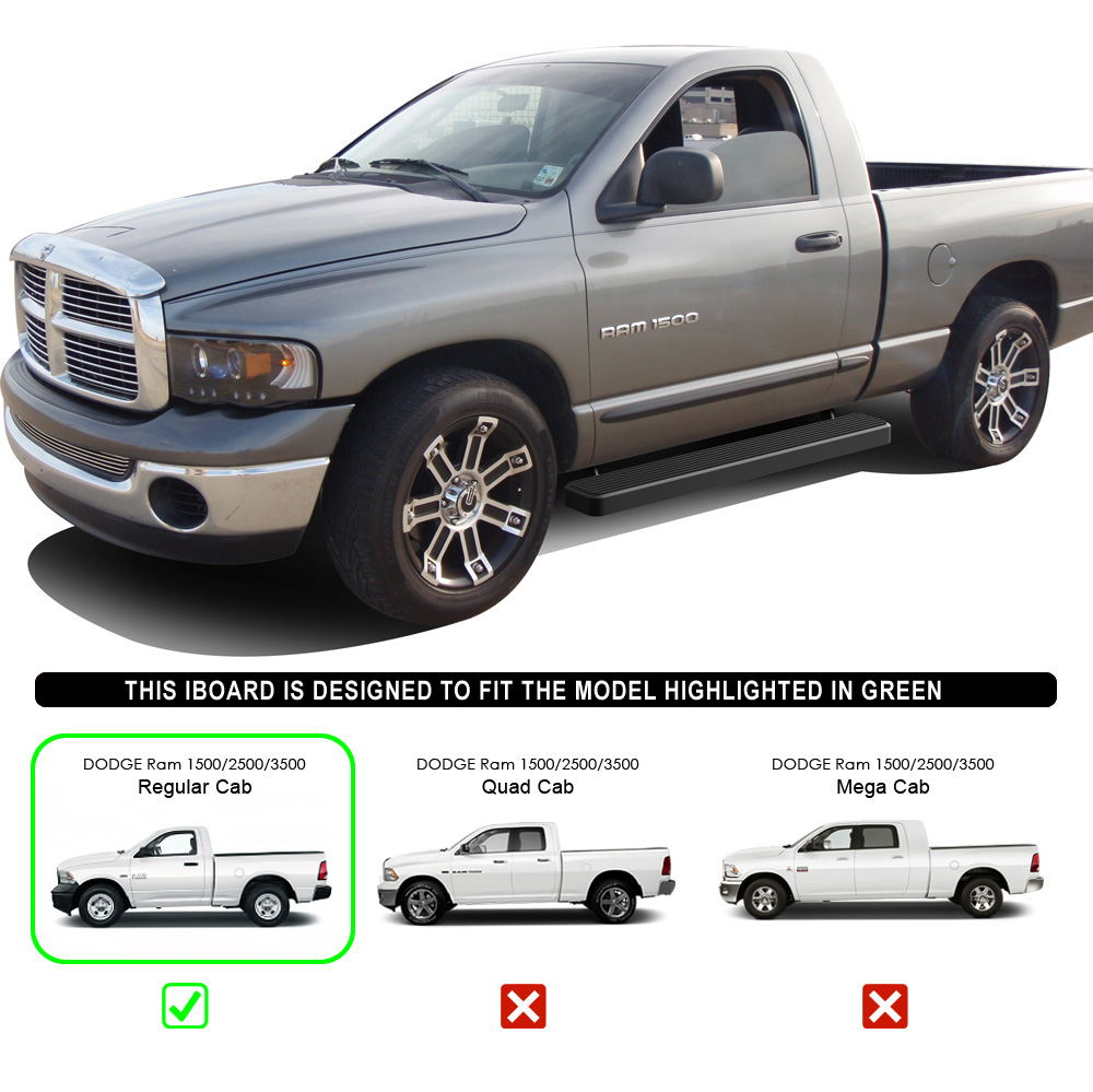 "IBoard Running Boards 6"" Black Fit 02-08 Dodge Ram 1500"