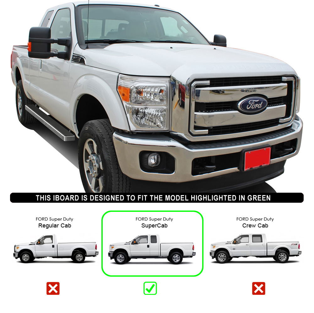 """IBoard Running Boards 4"""" Fit 99-16 Ford F-250/F-350"""