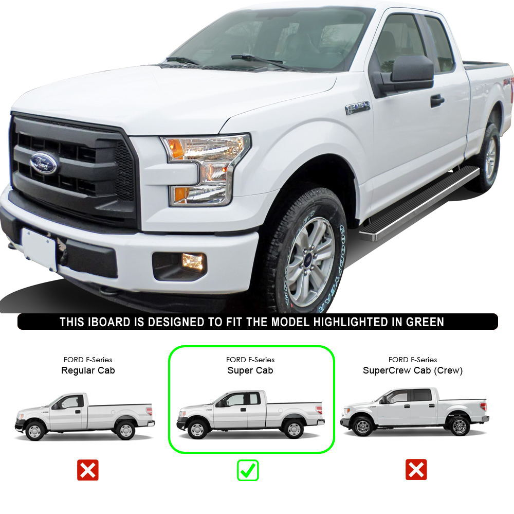 "IBoard Running Boards 4"" Fit 15-17 Ford F150 Super Cab"