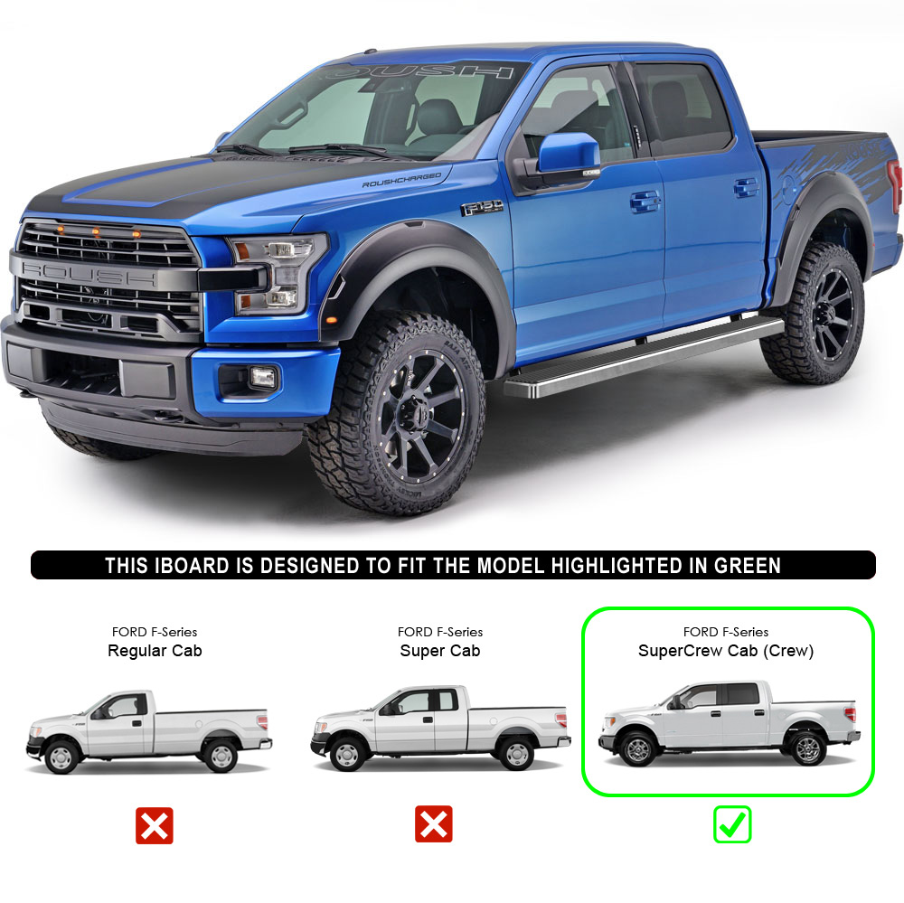 """IBoard Running Boards 5"""" Fit 15-17 Ford F150 SuperCrew Cab"""
