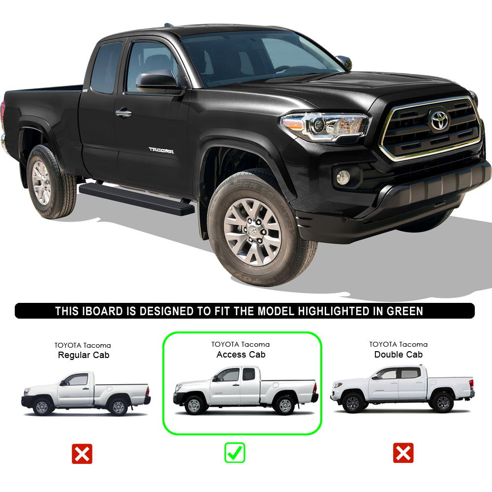 """Toyota Tacoma Crew Cab: Matte Black 4"""" IBoard Running Boards Fit 05-17 Toyota"""