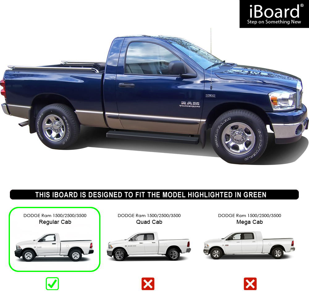 "Black 4"" IBoard Running Boards Fit 02-08 Dodge Ram 1500"