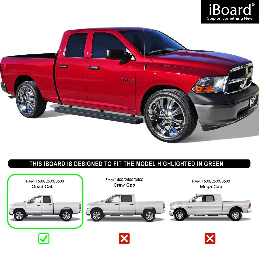"""2009 Dodge Ram 3500 Quad Cab Camshaft: Matte Black 5"""" IBoard Running Boards Fit 09-17 Dodge Ram"""
