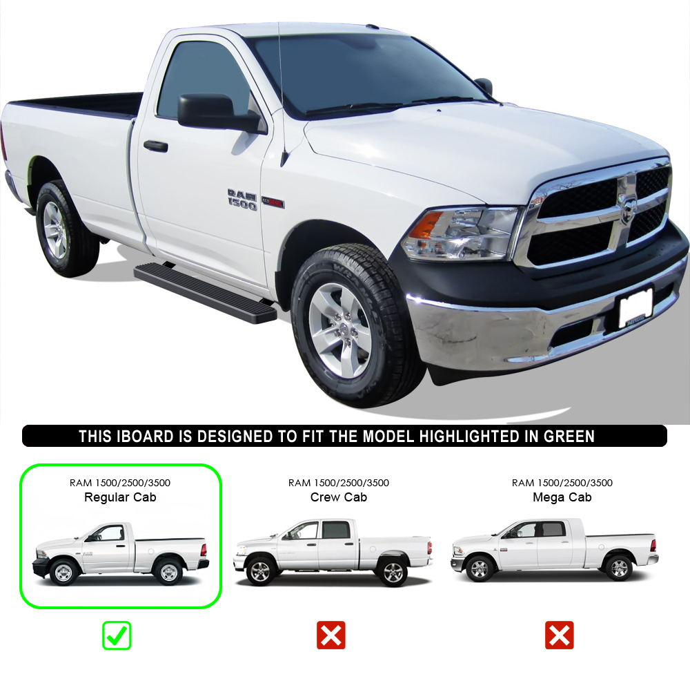 "2010 Dodge Ram 2500 Regular Cab Exterior: Black 5"" Running Boards Fit 09-14 Dodge Ram 1500 10-14 Ram"