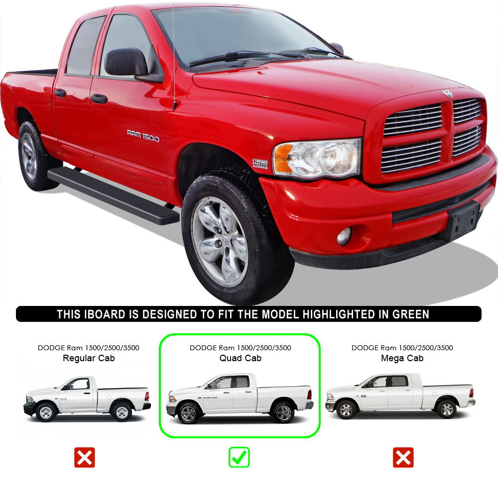 "IBoard Running Boards 6"" Matte Black Fit 02-08 Dodge Ram"