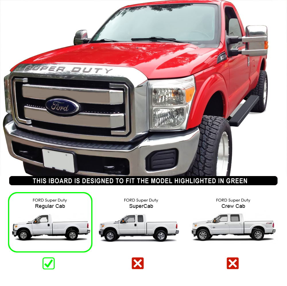 "IBoard Running Boards 4"" Matte Black Fit 99-16 Ford F-250"