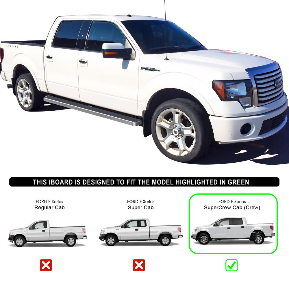 "5"" IBoard Running Boards Fit 09-14 Ford F-150 SuperCrew"