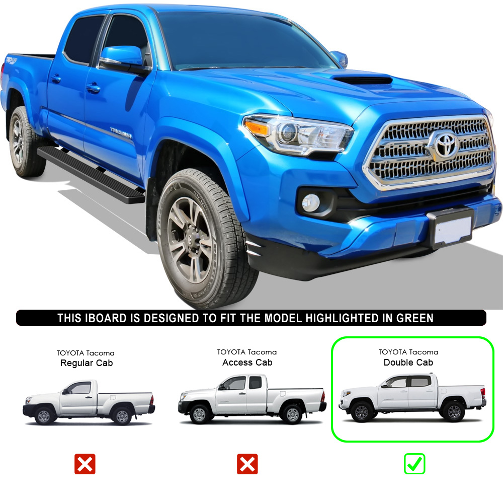 """Toyota Tacoma Crew Cab: Matte Black 5"""" IBoard Running Boards Fit 05-17 Toyota"""
