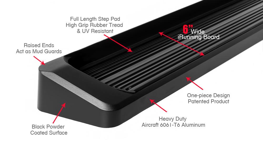 iboard running boards 6 matte black fit 09 17 gmc acadia. Black Bedroom Furniture Sets. Home Design Ideas