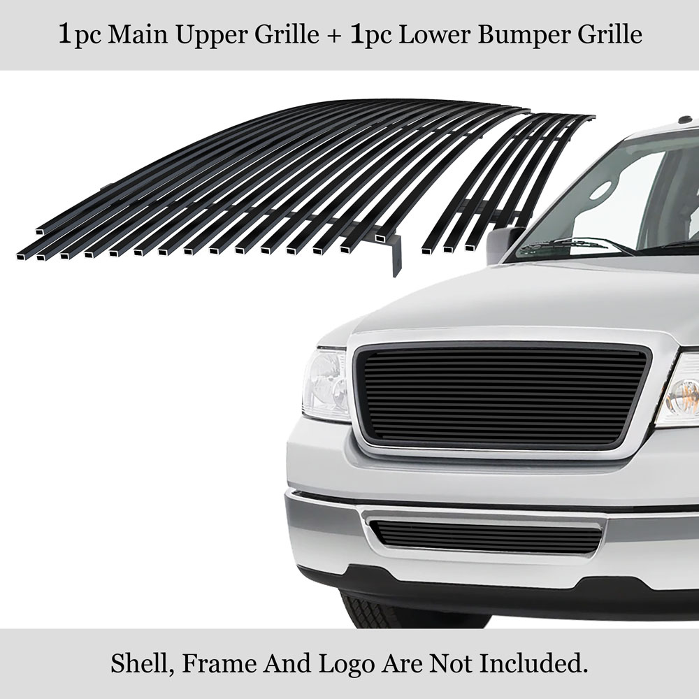 Fits 2006-2008 Ford F-150 Stainless Steel Black Bumper Billet Grille Insert