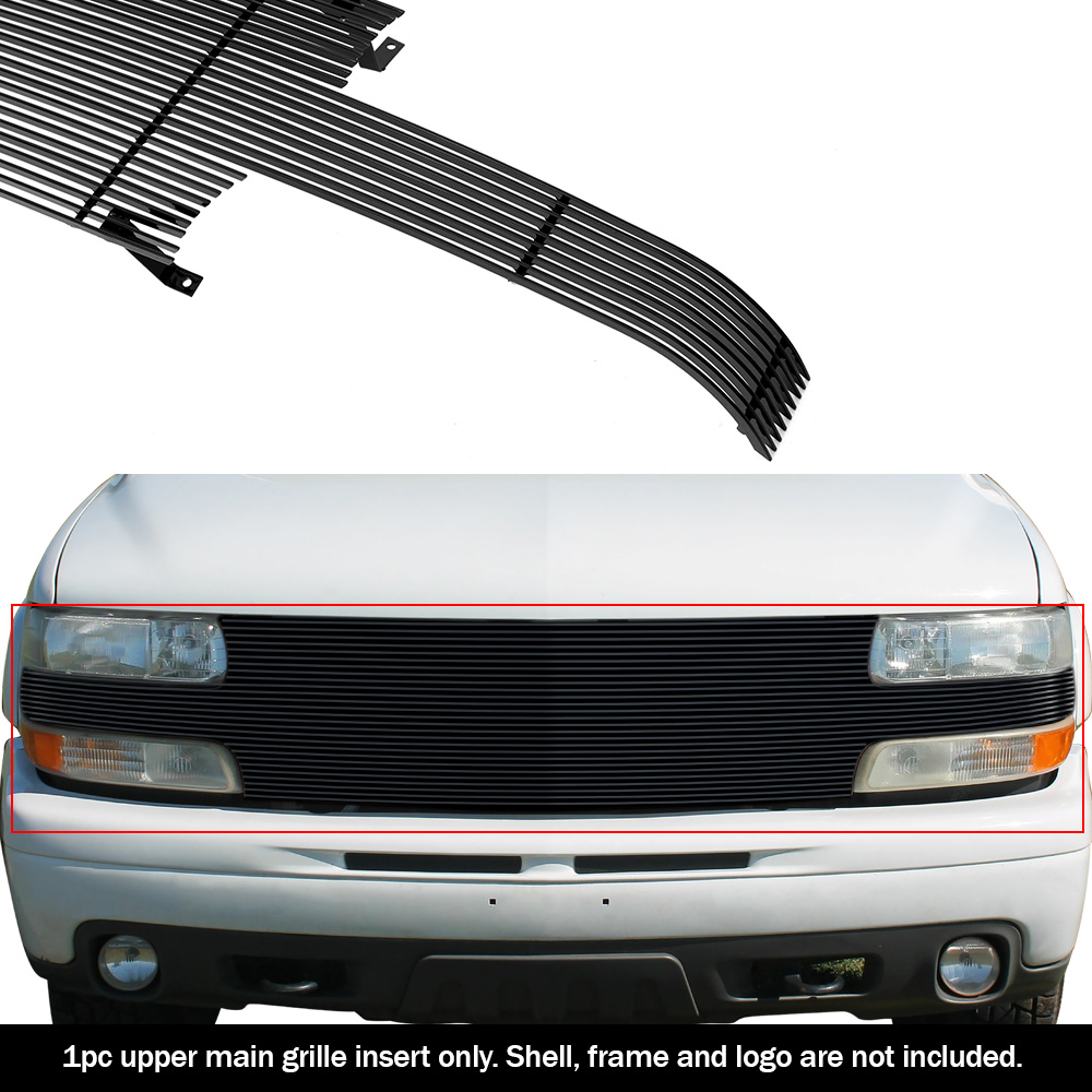Fit 1999-2002 Chevy Silverado 1500// 2000-2006 Tahoe Black Billet Grill Pack