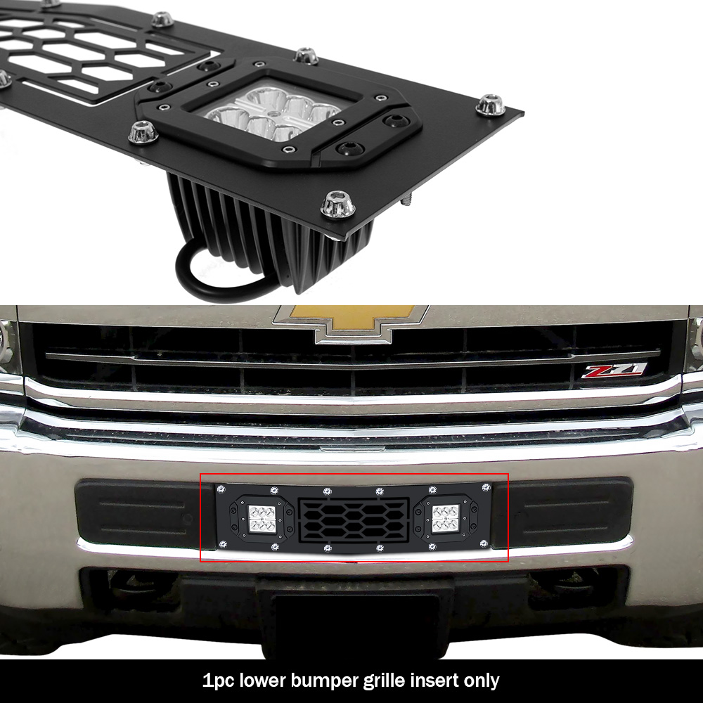 APS Compatible with 2014-2015 Chevy Silverado 1500 Stainless Black Bumper Rivet Stud Mesh Grille CL5990H