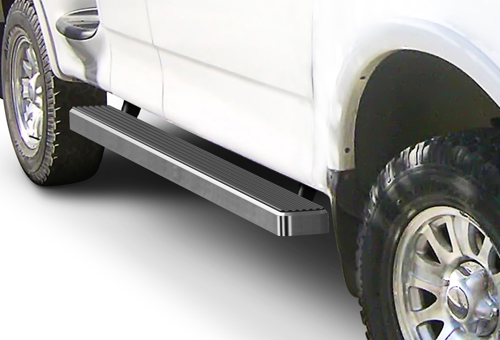 Running Board Side Step 4in Silver Fit Ford F150//F250 Light Duty Super Cab 99-03