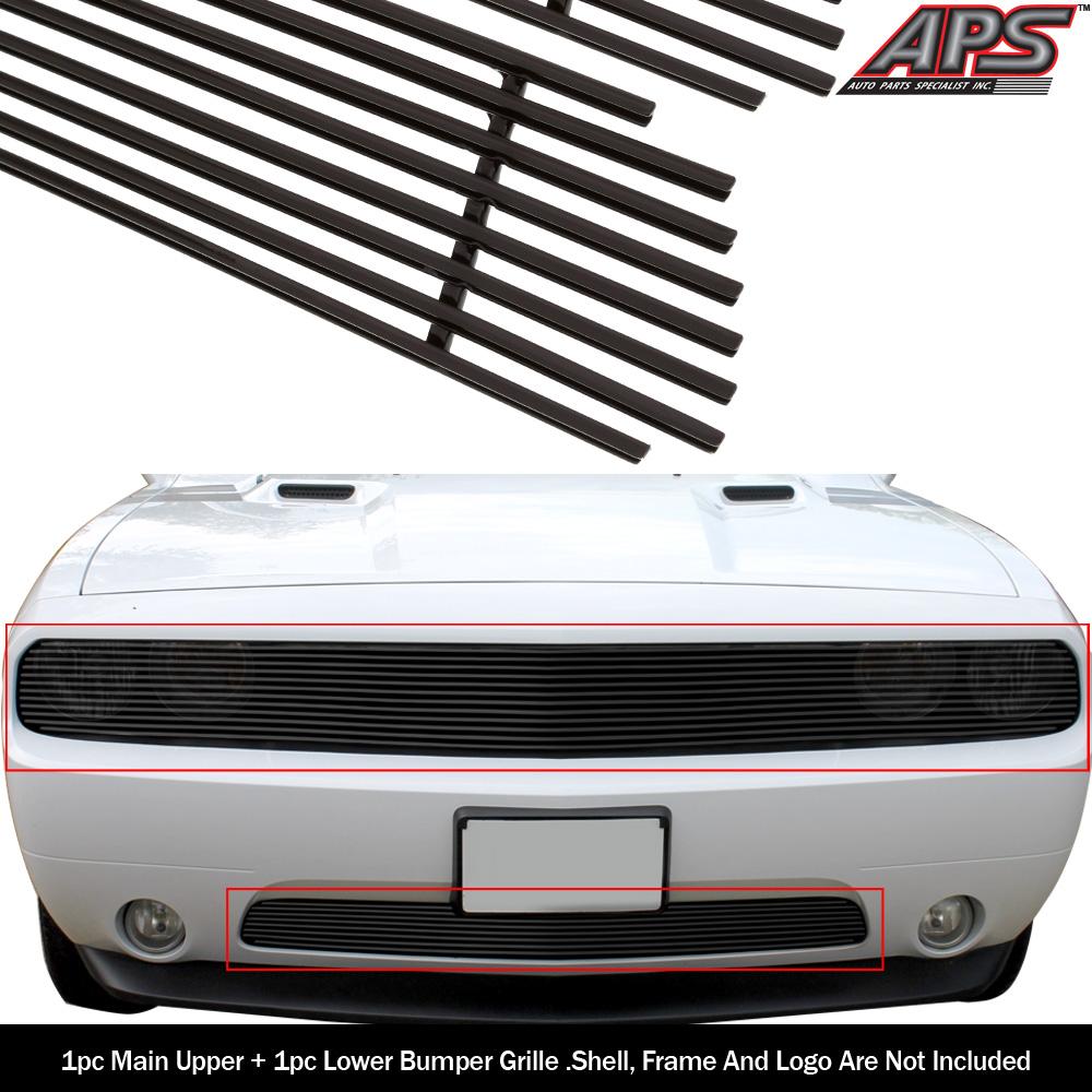 2pcs Black Billet Upper+Lower Grille Grill Combo Insert Fits 11-14 Dodge Challenger