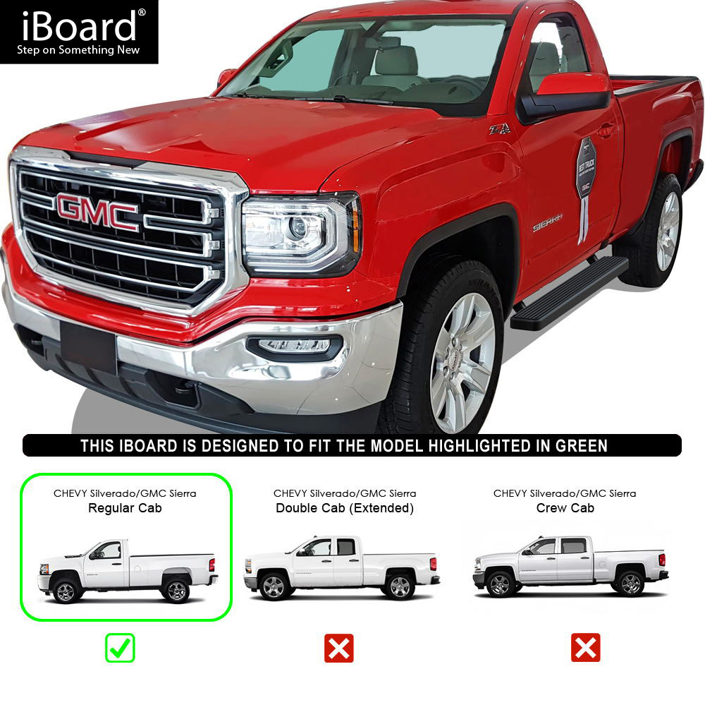 "IBoard Running Boards 5"" Matte Black Fit 07-18 Silverado"