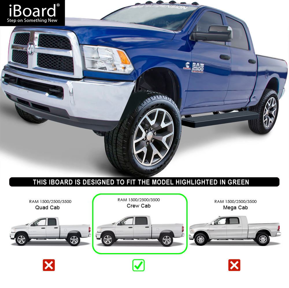 "IBoard Running Boards 6"" Matte Black Fit 09-18 Dodge Ram"