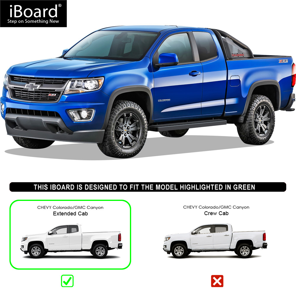"IBoard Running Boards 5"" Black Fit 15-17 Chevy Colorado"