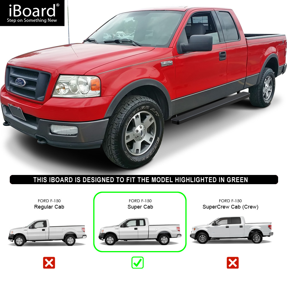"""IBoard Running Boards 4"""" Matte Black Fit 09-14 Ford F150"""